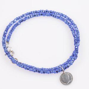 dubbele armband bicblauw glas facet