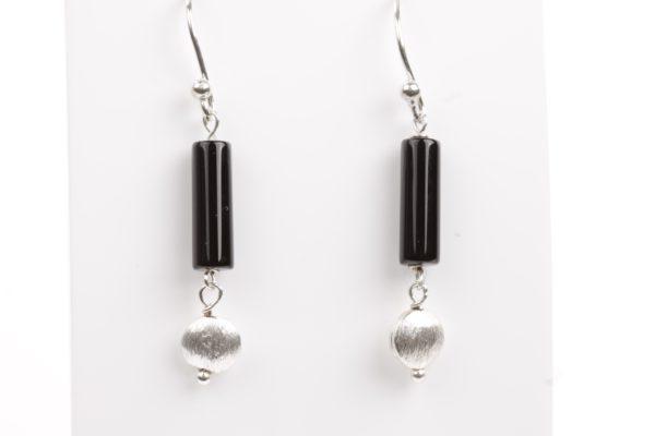 zwart onyx buisje geborsteld zilver 925