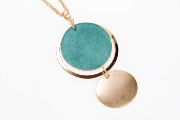 turquoise leder schijfje in ring