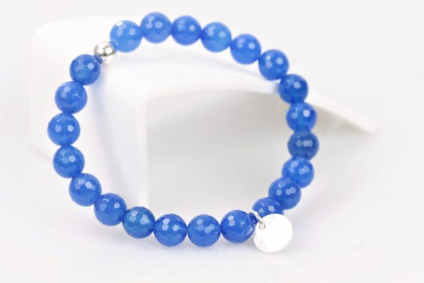 rek armband blauw agaat facet